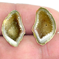 Natural 8.10cts geode druzy brown rough 18.5x11 mm pair loose gemstone s6652