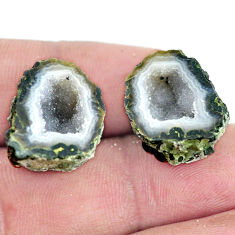 Natural 28.45cts geode druzy brown rough 19x14 mm pair loose gemstone s6657
