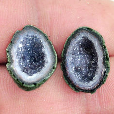 Natural 11.25cts geode druzy brown rough 15x11 mm pair loose gemstone s6659