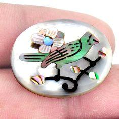 Natural 14.45cts pearl abalone seashell bird cameo 25x20 mm loose gemstone s6842