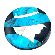 7.35cts sleeping beauty turquoise pearl onyx 16.5x16.5 mm loose gemstone s6848