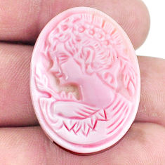 Natural 31.30cts cameo on shell pink lady cameo 30x22.5 mm loose gemstone s6872