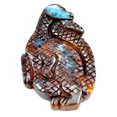 Natural 24.35cts boulder opal carving brown 31x18 mm fancy loose gemstone s6938