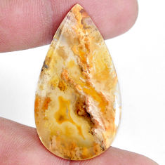 Natural 21.05cts plum agate yellow cabochon 39x22 mm pear loose gemstone s7312