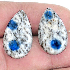 Pair 21.25cts k2 blue (azurite in quartz) 23x13 mm pear loose gemstone s7623