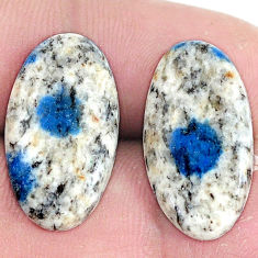 Pair 18.45cts k2 blue (azurite in quartz) 21x12 mm oval loose gemstone s7627