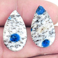 Pair 19.45cts k2 blue (azurite in quartz) 23x13 mm pear loose gemstone s7639