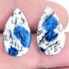 Pair 16.45cts k2 blue (azurite in quartz) 21x12.5 mm loose gemstone s7640