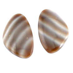 Natural 14.45cts striped flint ohio grey 22x13.5 mm pair loose gemstone s7641