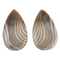 Natural 20.10cts striped flint ohio grey 25x13mm pair pear loose gemstone s7644