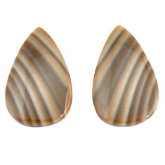 Natural 22.35cts striped flint ohio grey 25x15 mm pear pair loose gemstone s7649