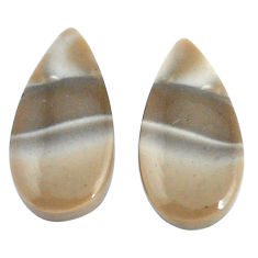 Natural 17.40cts striped flint ohio grey 22x11 mm pear pair loose gemstone s7657