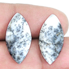 Pair 12.35cts dendrite opal (merlinite) white 23x11 mm loose gemstone s7684