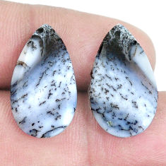 Pair 14.35cts dendrite opal (merlinite) white 22x13 mm loose gemstone s7685