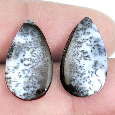 Natural 14.35cts dendrite opal merlinite white 30x12mm pair loose gemstone s7697