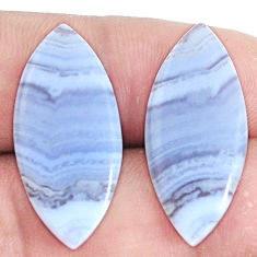 Natural 20.10cts lace agate blue pair 27.5x12 mm loose gemstone s7714