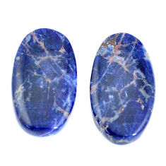 Natural 16.30cts sodalite blue cabochon 22x12mm pair oval loose gemstone s7781