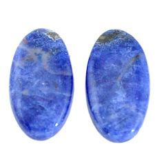 Natural 14.45cts sodalite blue cabochon 21x11 mm pair oval loose gemstone s7782