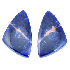 Natural 16.30cts sodalite blue cabochon 27x15 mm pair loose gemstone s7783