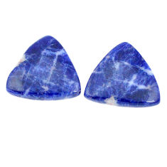 Natural 14.45cts sodalite blue pair 17x17mm trillion loose gemstone s7786