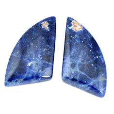 Natural 19.45cts sodalite blue cabochon 27x13 mm pair loose gemstone s7788