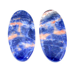 Natural 16.30cts sodalite orange cabochon 28x13mm oval pair loose gemstone s7794