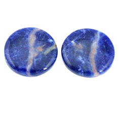 Pair natural 15.10cts sodalite orange cabochon 17.5x17.5 mm loose gemstone s7799
