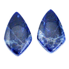 Pair natural 15.10cts sodalite blue cabochon 23x13 mm fancy loose gemstone s7800
