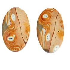 Natural 17.40cts snakeskin jasper pair 23x12 mm oval loose gemstone s7825