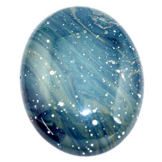 Natural 43.45cts swedish slag blue cabochon 34x26 mm oval loose gemstone s8111