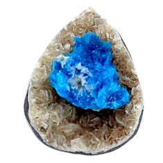 Natural 5.10cts cavansite blue rough 17x12 mm pear loose gemstone s8376