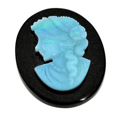 Natural 17.40cts opal lady cameo on black onyx 25x20 mm loose gemstone s8470
