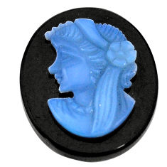 Natural 17.40cts opal lady cameo on black onyx 25x20 mm loose gemstone s8471