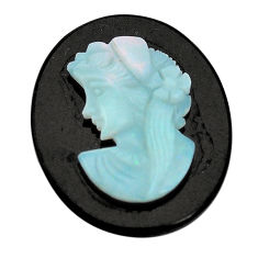 Natural 12.40cts opal lady cameo on black onyx 25x20 mm loose gemstone s8479