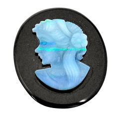 Natural 15.10cts opal lady cameo on black onyx 25x20 mm loose gemstone s8480