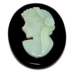 Natural 16.30cts opal cameo on black onyx black 25x20 mm loose gemstone s8496
