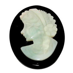 Natural 16.30cts opal cameo on black onyx black 25x20 mm loose gemstone s8497