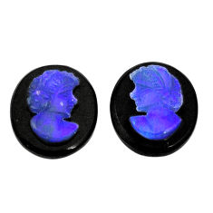Natural 5.10cts opal cameo on black onyx black 12x10mm pair loose gemstone s8502