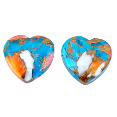 17.40cts spiny oyster arizona turquoise 15x16 mm heart loose gemstone s8725