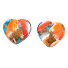 12.35cts spiny oyster arizona turquoise 13.5x14 mm heart loose gemstone s8731