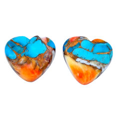 13.45cts spiny oyster arizona turquoise 13.5x14.5 mm heart loose gemstone s8738