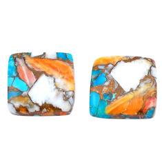 27.40cts spiny oyster arizona turquoise 17x17 mm cushion loose gemstone s8753