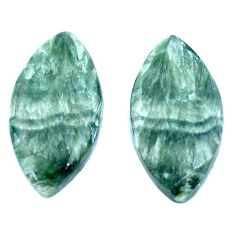 Natural 13.15cts seraphinite (russian) green 21x11 mm loose gemstone s8763