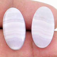 Natural 17.40cts lace agate pink cabochon 20x11 mm oval loose gemstone s8784