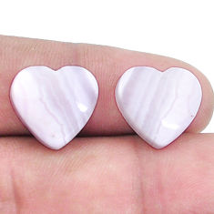 Natural 13.45cts lace agate pink cabochon 14x15 mm heart loose gemstone s8798