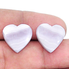 Natural 13.45cts lace agate pink cabochon 15x15 mm heart loose gemstone s8799