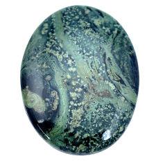 Natural 28.45cts kambaba jasper green 31x22.5 mm oval loose gemstone s9337