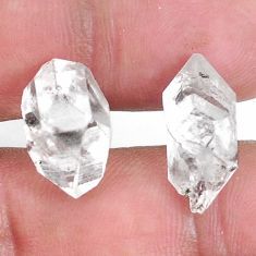 Natural 16.30cts herkimer diamond white rough 16x9mm fancy loose gemstone s9388