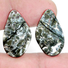 Natural 20.10cts marcasite in quartz white 24x14 mm fancy loose gemstone s9713