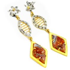 22.02cts estate diamond mexican laguna lace agate 925 silver gold earrings v1321